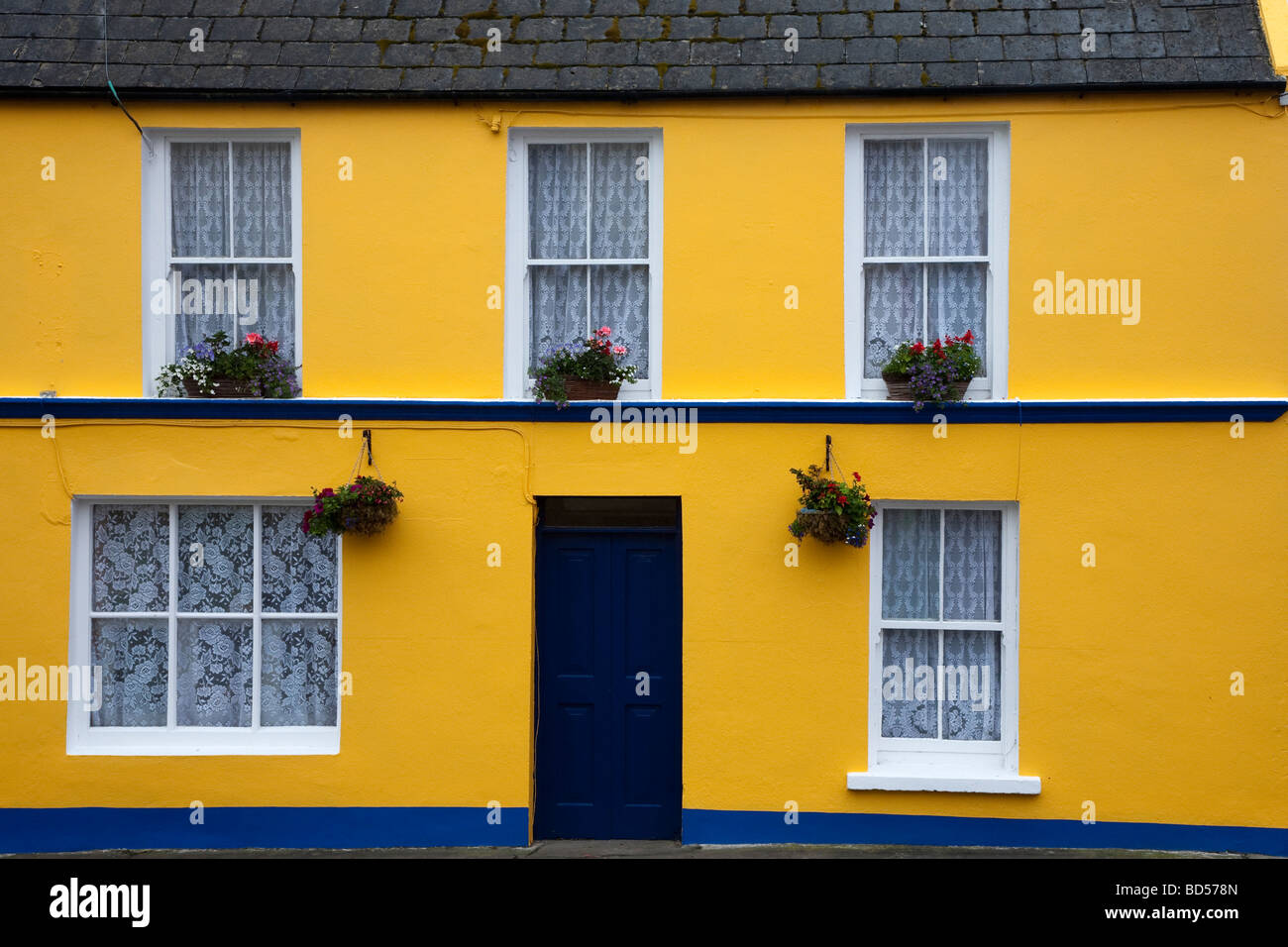 Coloured Houses Eyeries Ring of Beara County Kerry Ireland - Stock Image