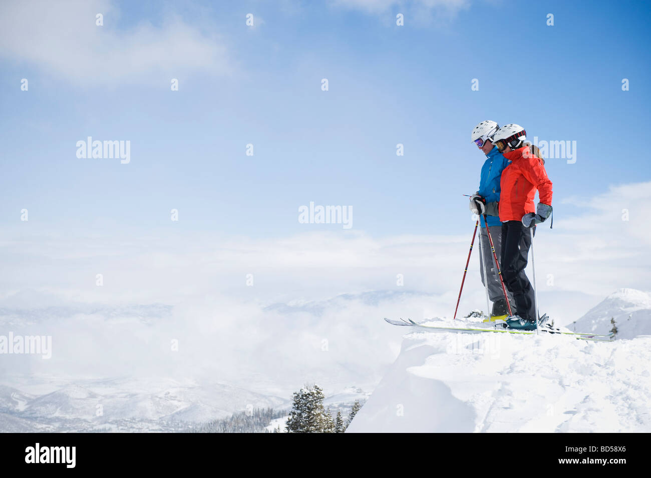 Two downhill skiers - Stock Image