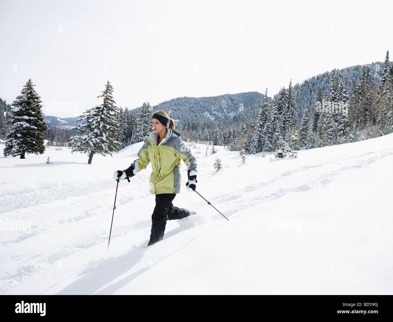 A woman snow shoeing - Stock Image