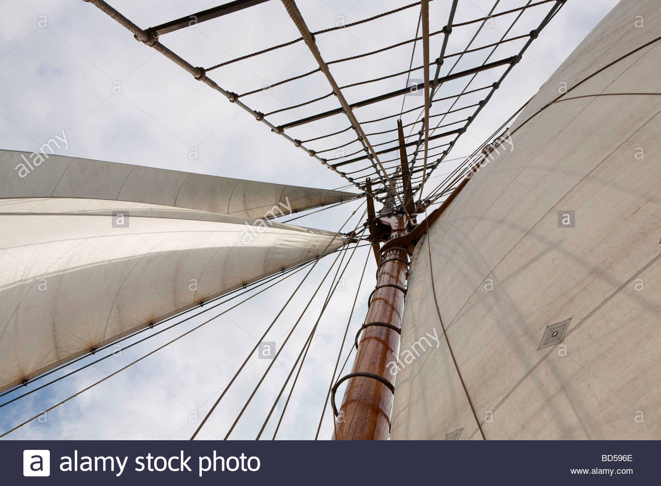 The mast of sail ship m aux Kathrina Finland - Stock Image