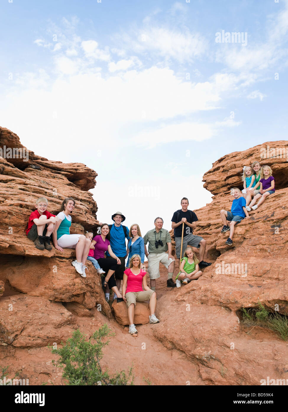 A large family on vacation at Red Rock - Stock Image