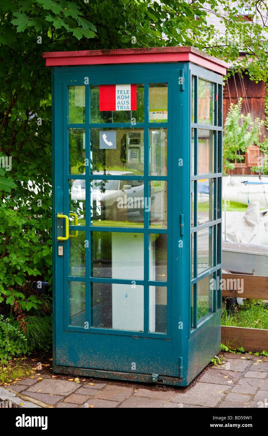 Austria Europe telephone kiosk - Stock Image