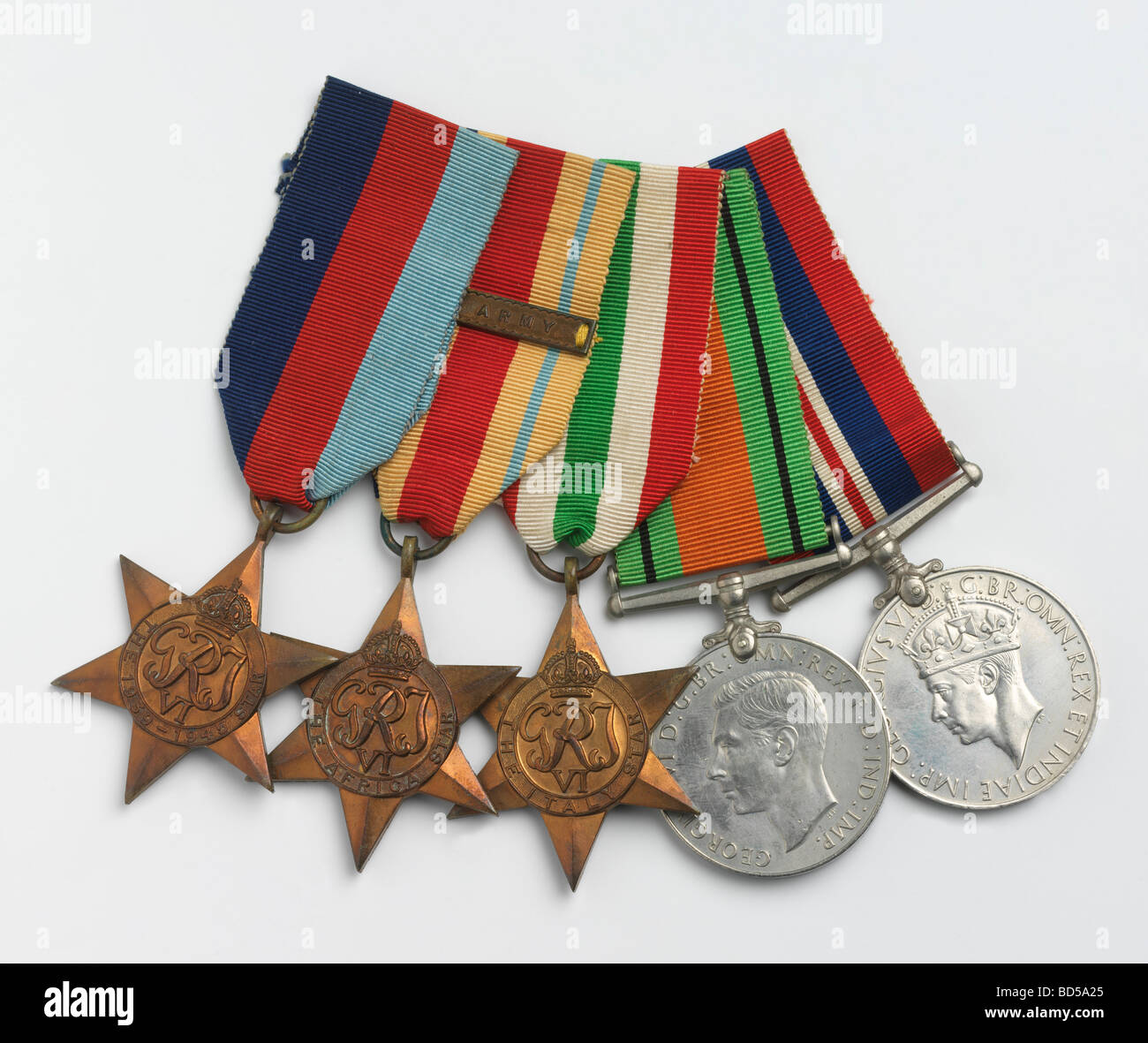 British and Commonwealth campaign medals and ribbons from service in the second world war - Stock Image