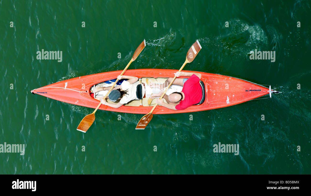 canoeists from top of the view - Stock Image