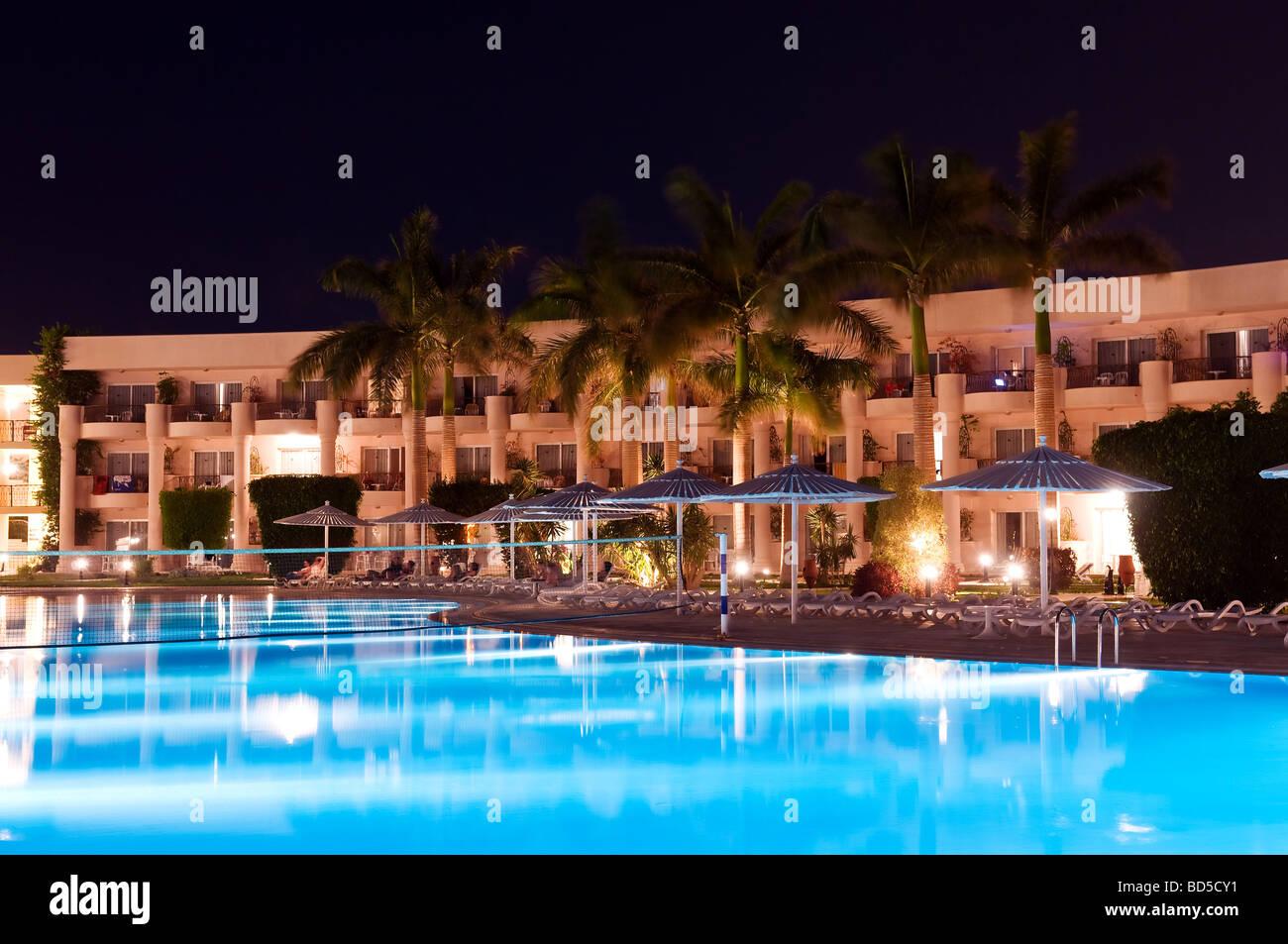 luxury resort at night luminosity - Stock Image