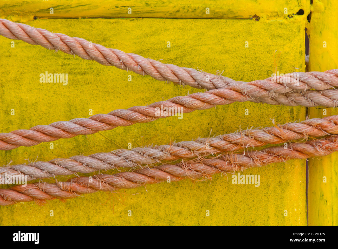 Rope attached to a yellow trolley in Deira, Dubai, United Arab Emirates (UAE) - Stock Image