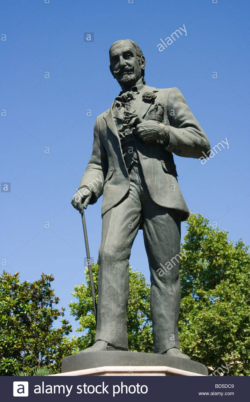 Marbella Costa del Sol Spain Statue of Don Jaime Golden Mile - Stock Image