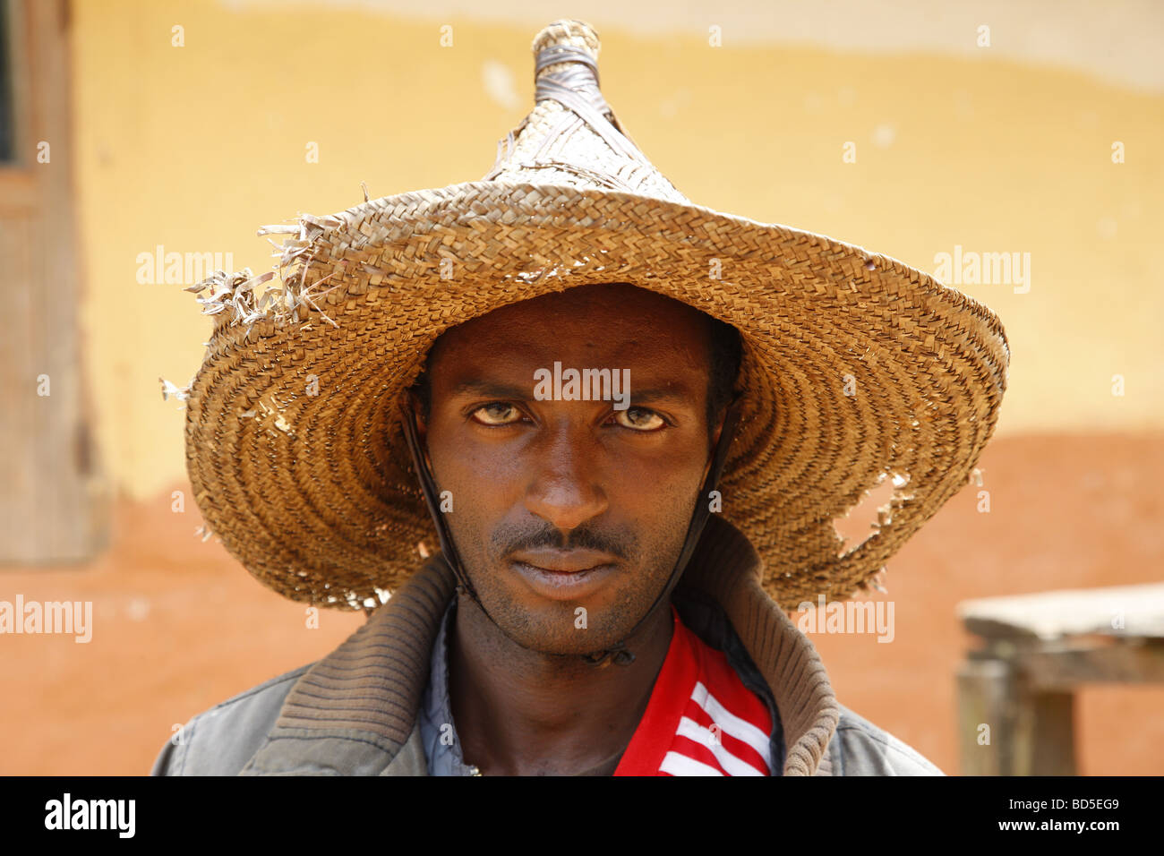 Man in a straw hat, portrait, Mbororo ethnic group, Bamenda, Cameroon, Africa - Stock Image