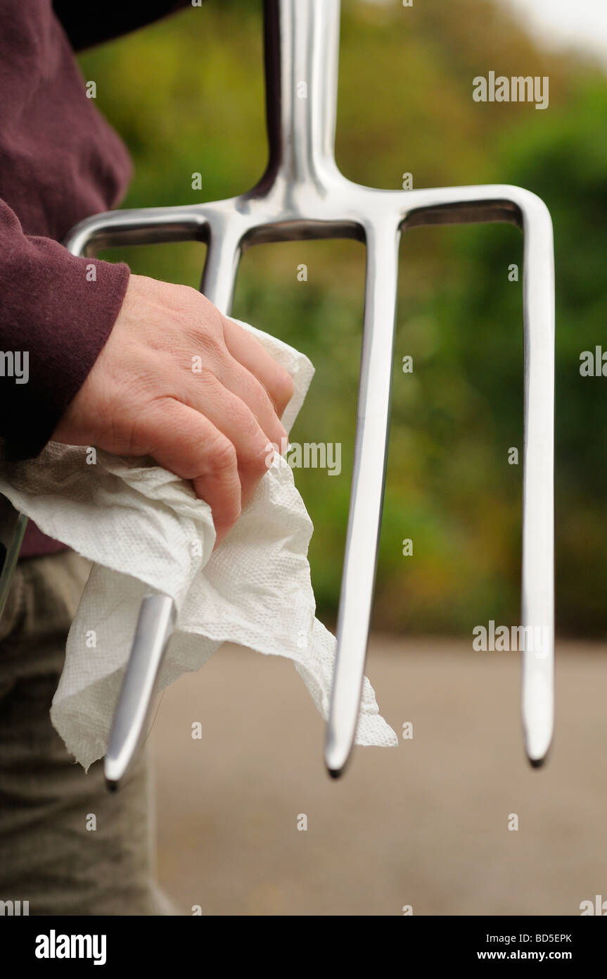 Cleaning Garden Fork   Stock Image