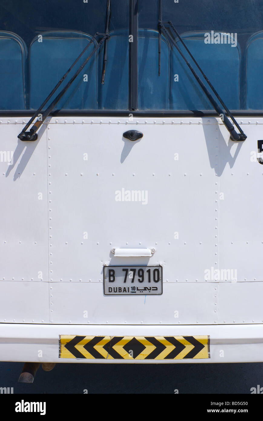 White bus, Deira Corniche, Dubai, United Arab Emirates (UAE) - Stock Image
