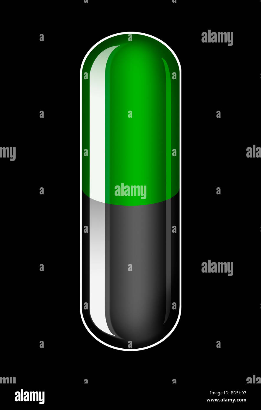 Illustration of a single generic Green and Black Capsule on a black background - Stock Image