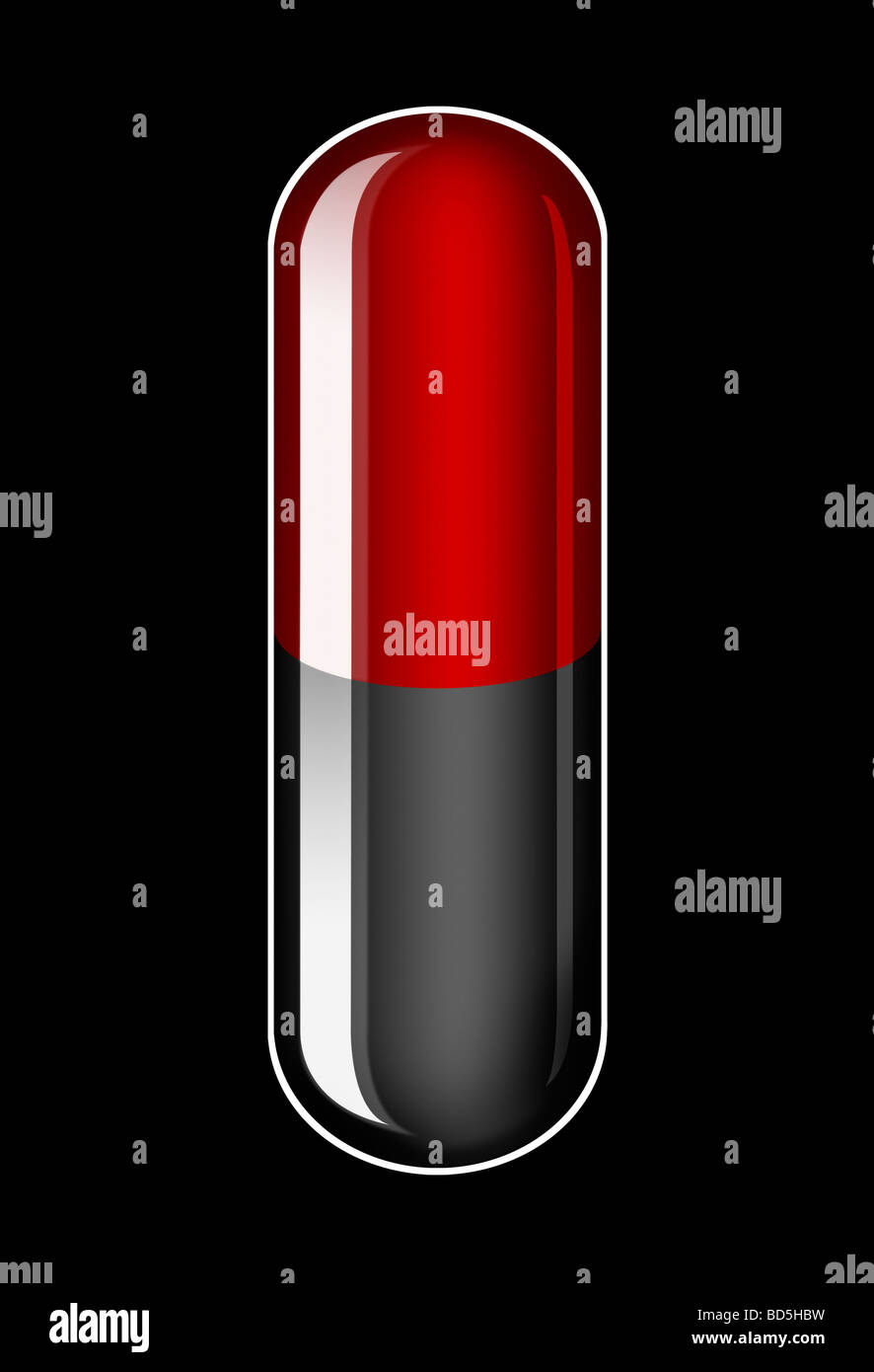 Illustration of a single generic Red and Black Capsule on a black background - Stock Image