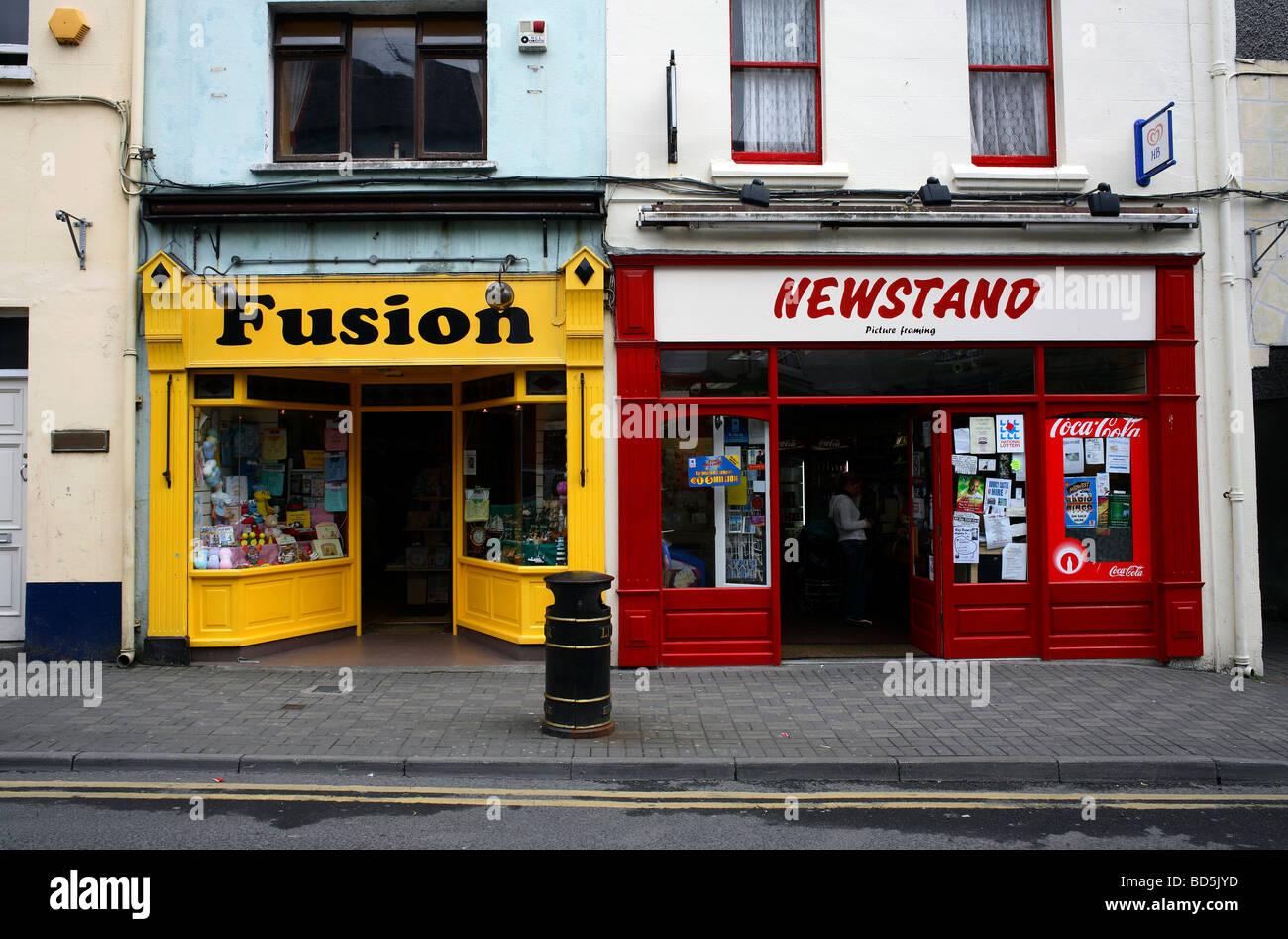 Street Shop Fronts in Ballin County Mayo Ireland - Stock Image