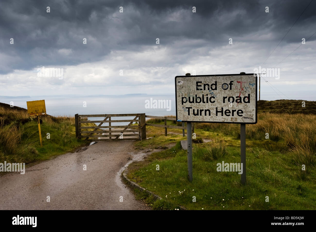 Sign, End of public road, Mull of Kintyre, Scotland, United Kingdom, Europe - Stock Image