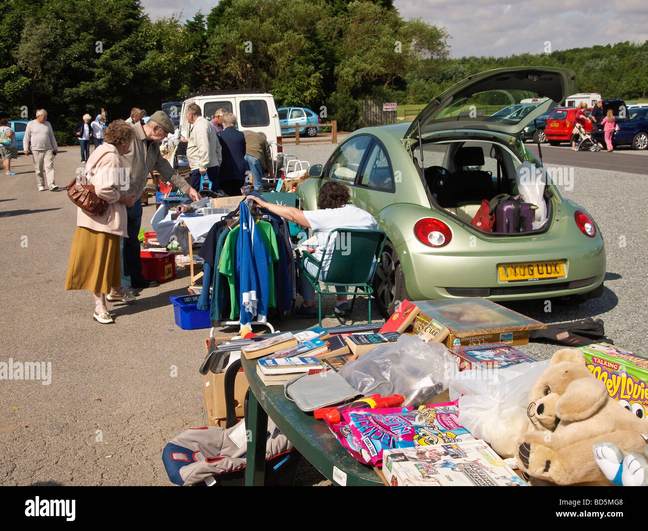 Car boot sale East Yorkshire UK - Stock Image