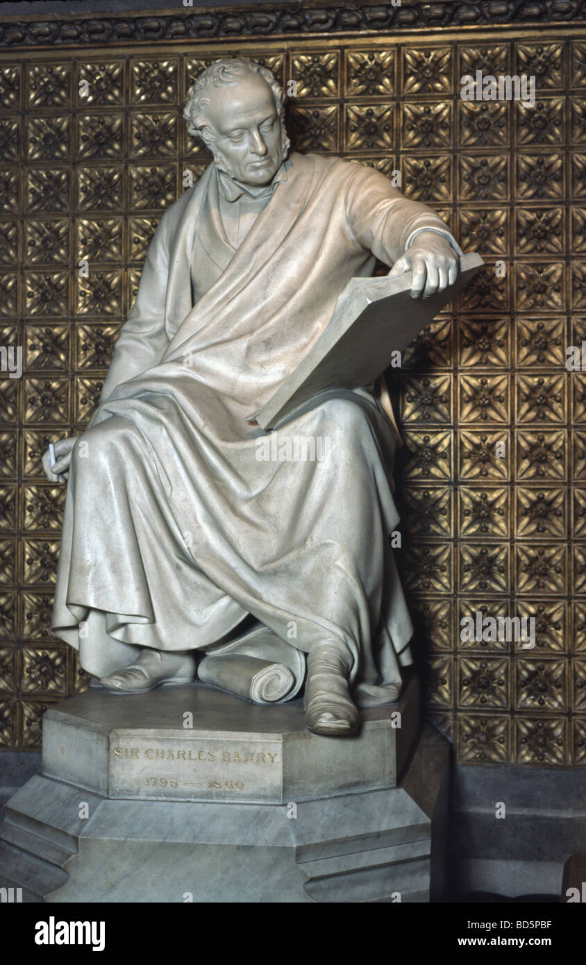 Statue of Sir Charles Barry Architect who rebuilt the Houses of Parliament - Stock Image