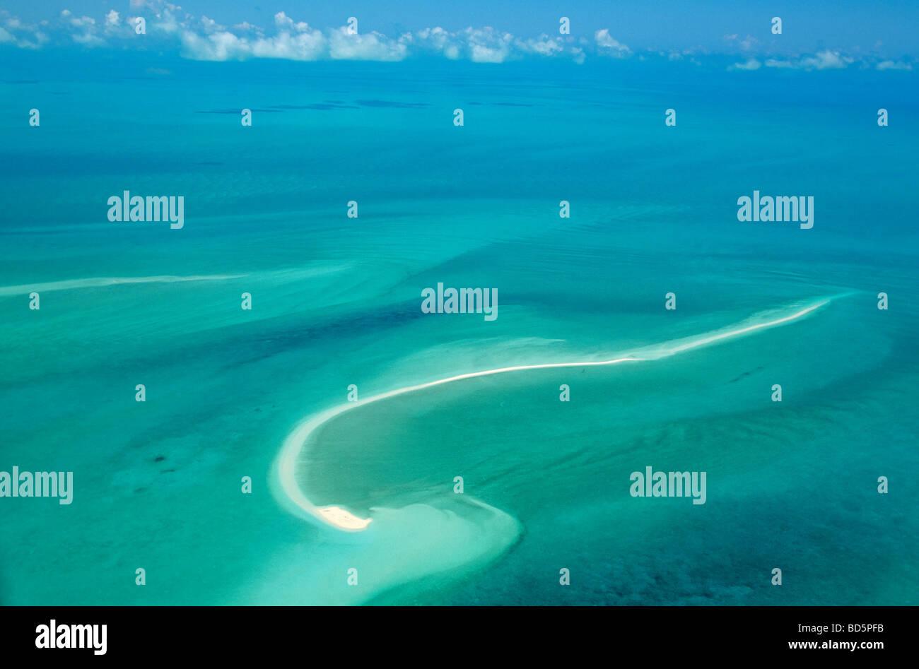 Sandbar in shallow seas of Grand Bahama Bank aerial view north of Exuma in the Bahama Islands BEAN AL Pix 0114 - Stock Image