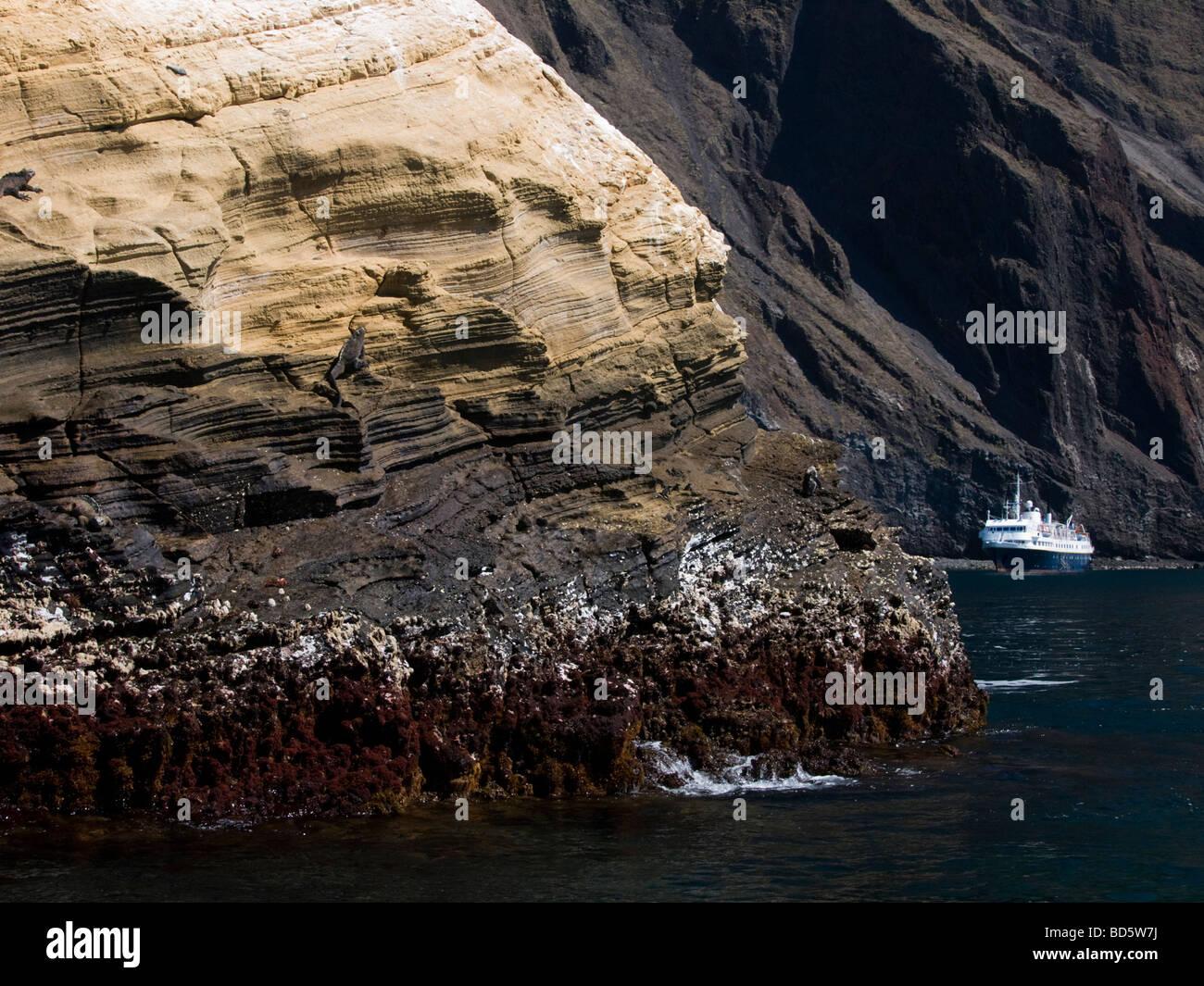 the Polaris Moored at Punta Vicente Roca Galapagos Islands - Stock Image