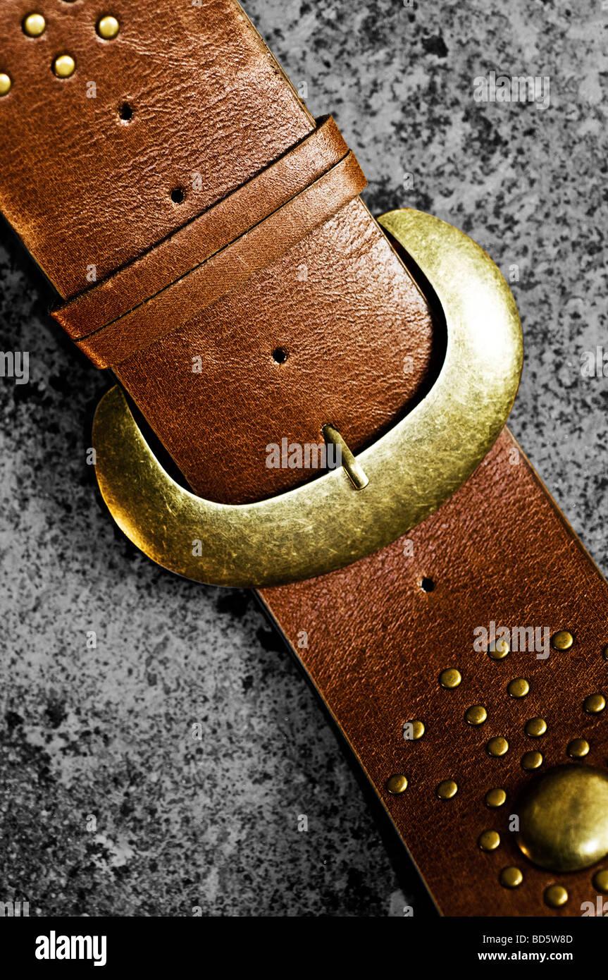 Leather belt - Stock Image