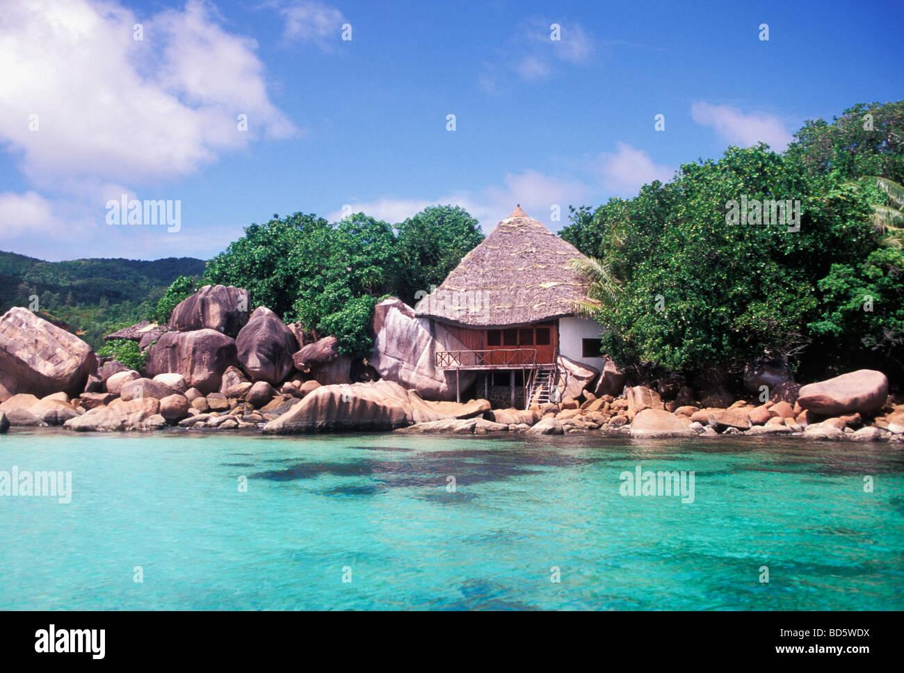 Beach House on Chauve Souris Island off Praslin Island Seychelles Stock Photo