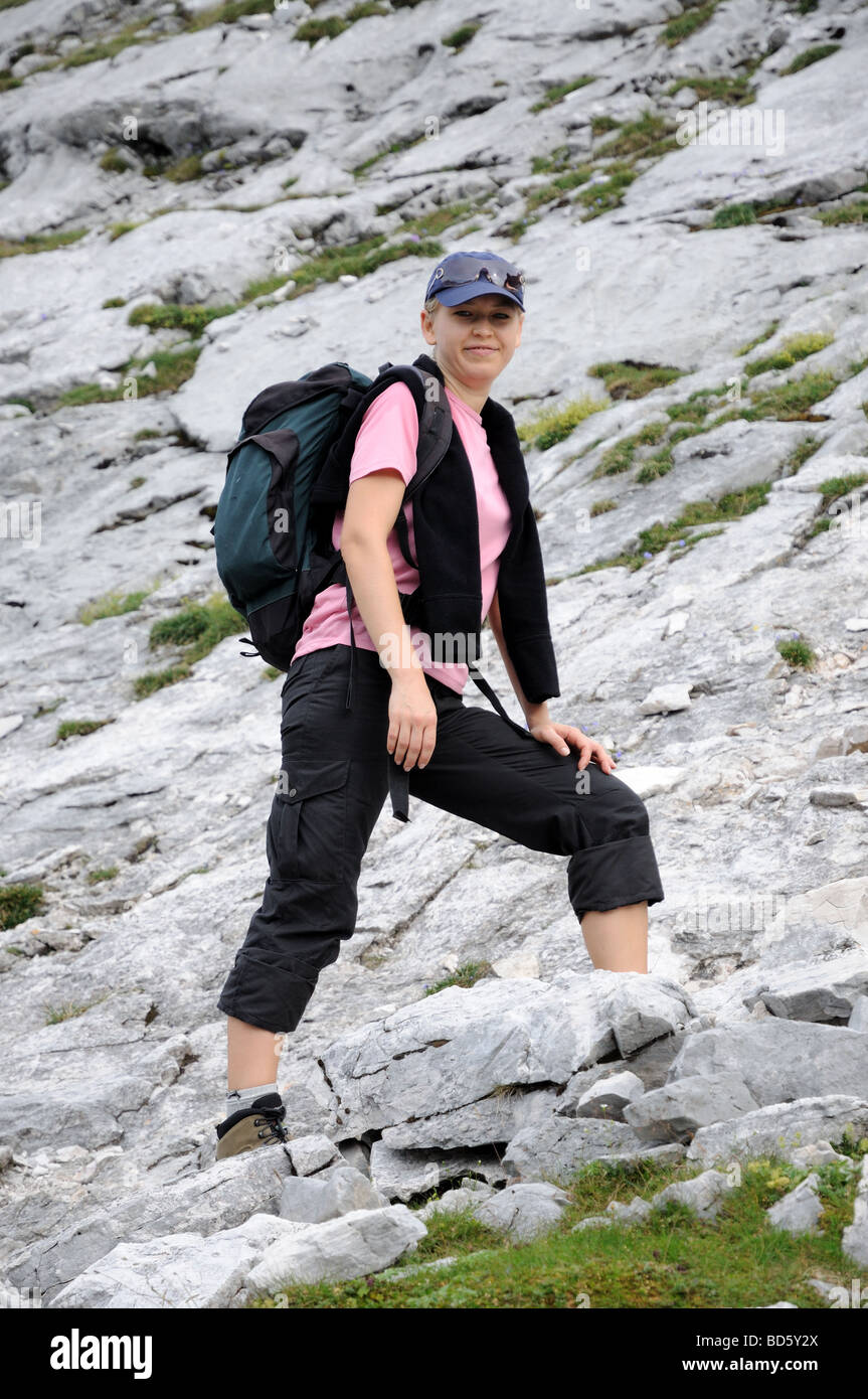 Female hiker in the alps. - Stock Image