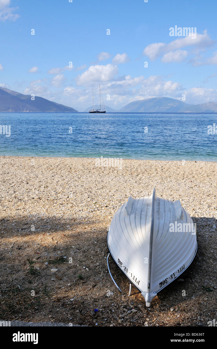 Landscape with motorboat and big sailboat at the Ionian islands - Stock Image