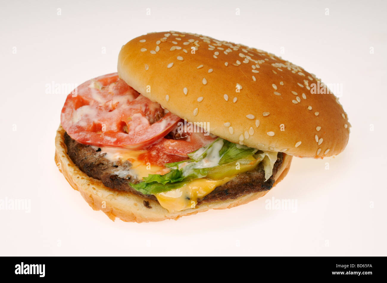 Burger King Whopper Cheeseburger With Tomato Lettuce And Mayonnaise On Bun