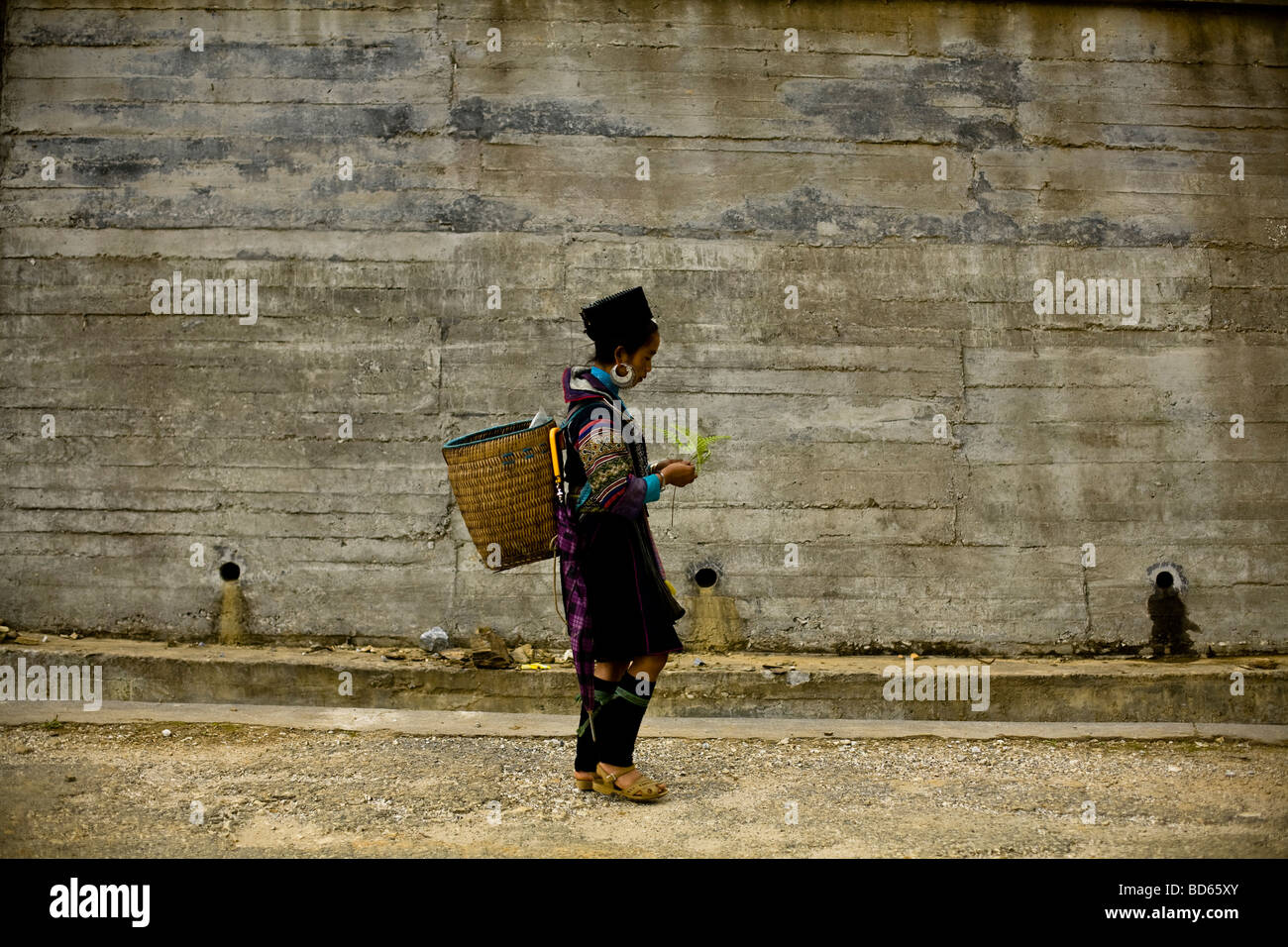 A Black Hmong woman walks along past a new cement wall in Sapa in northern Vietnam - Stock Image