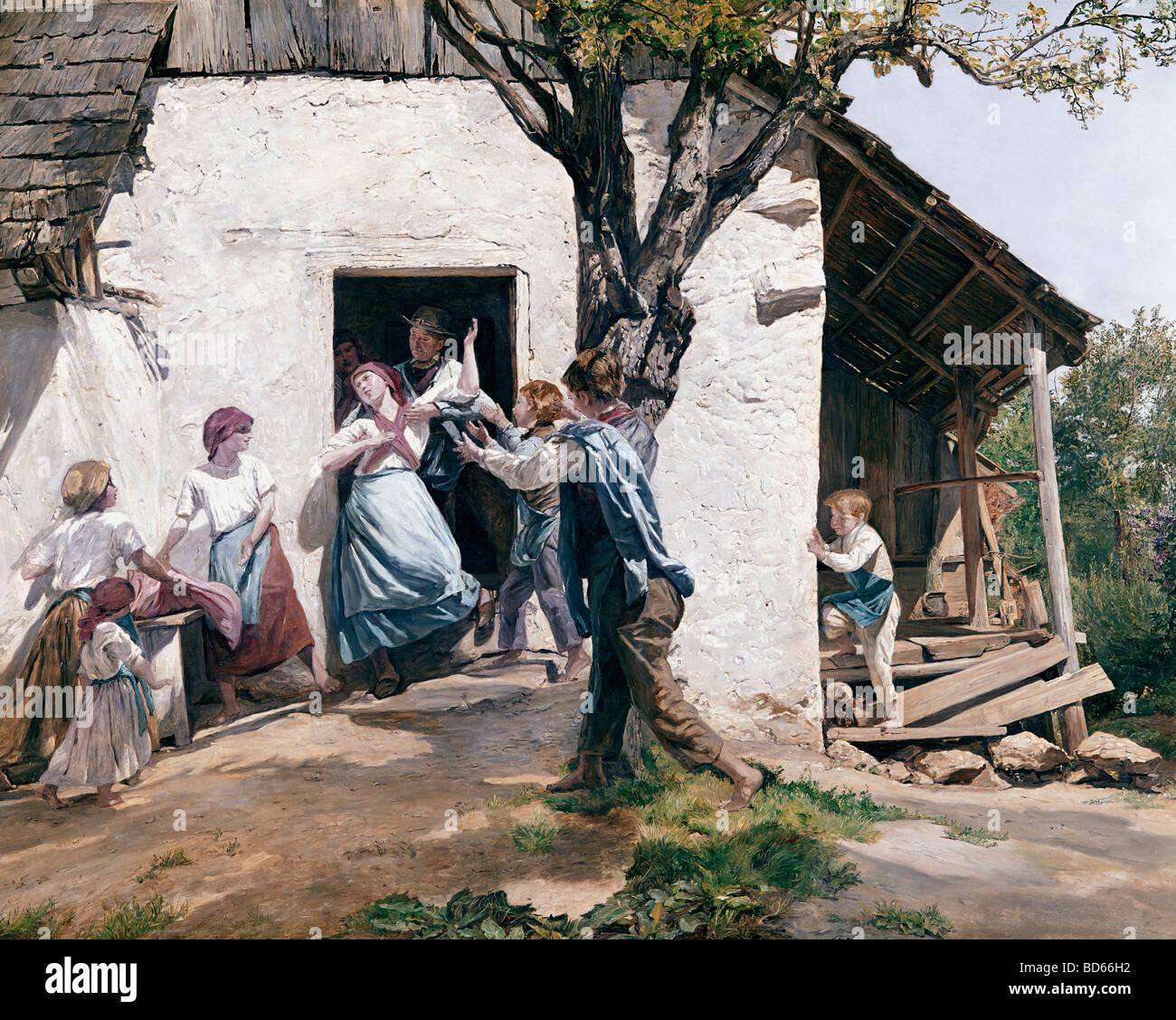 fine arts, Waldmueller, Ferdinand Georg (1793 - 1865), painting 'Neues Leben' (New Life), von der Heydt - Stock Image