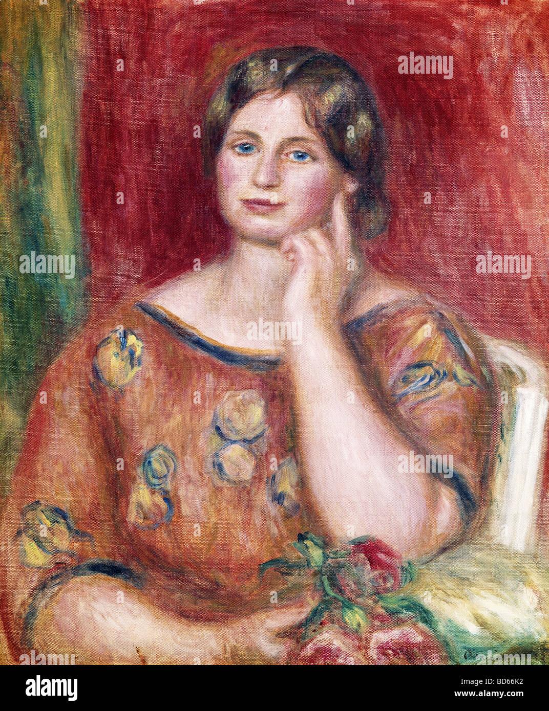 "fine arts, Renoir, Auguste (1841 - 1919), painting, ""Portrait of Madame Osthaus"", 1913, Museum Folkwang, Essen, Stock Photo"