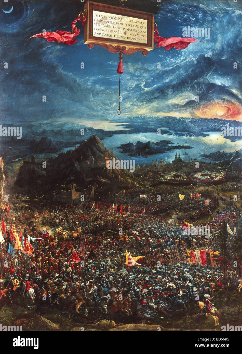 "fine arts, Altdorfer, Albrecht (1480 - 1538), painting ""Alexanderschlacht"", (Battle of Alexander the Great), 1529, Stock Photo"