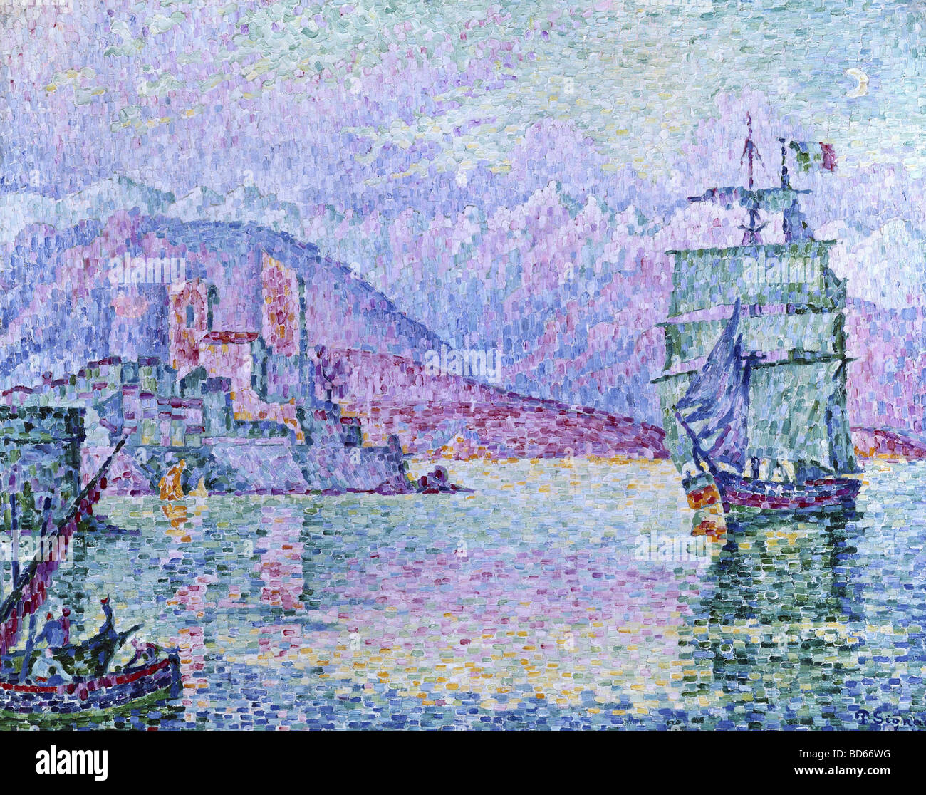 "fine arts, Signac, Paul, (1863 - 1935), painting, ""Antibes, Evening"", 1914, oil on canvas, Musee de la Ville, Strasbourg, Stock Photo"