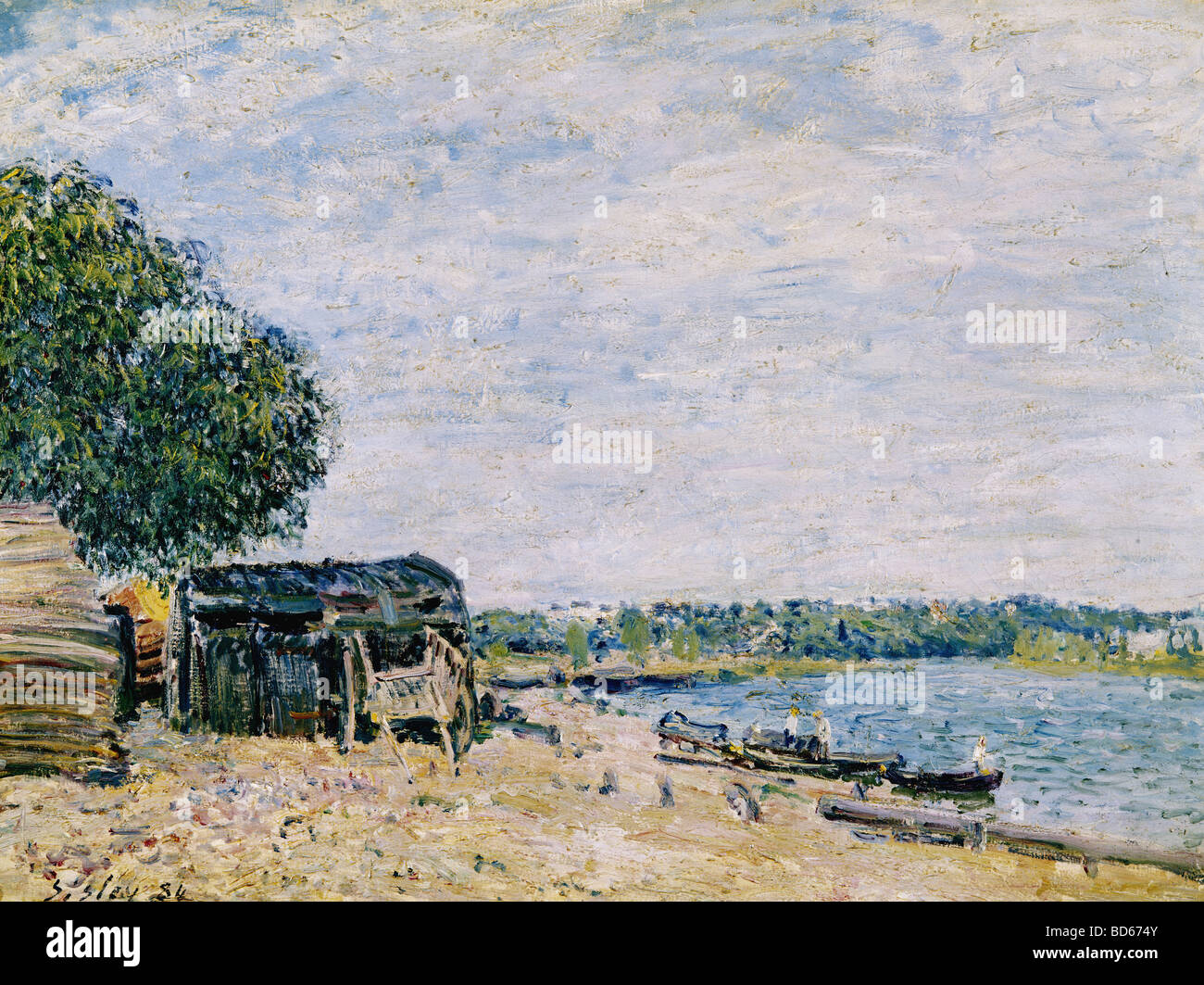 """fine arts, Sisley, Alfred, (1839 - 1899), painting, """"Saint Mammes"""", 1884, Musee d'Art et d'Histoire, Geneve, French, impressi Stock Photo"""