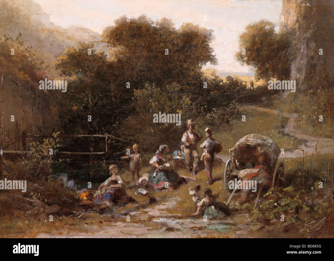 "fine arts, Spitzweg, Carl (1808 - 1885), painting ""Zigeunerlager"" (Gipsy's Camp), oil on cardboard, private collection, Stock Photo"