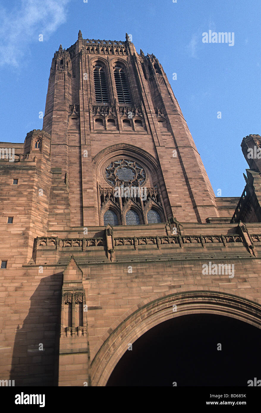 Liverpool Cathedral, tower and Rankin porch - Stock Image