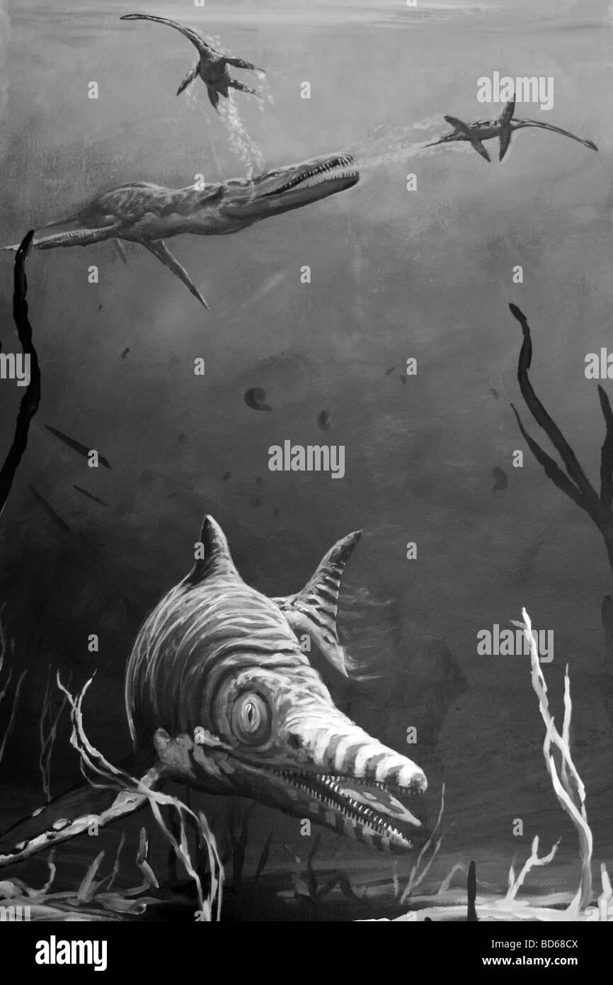 Geology Mural Showing Ichthyosaurus And Liopleurodon In The Jurassic Sea Stock Photo