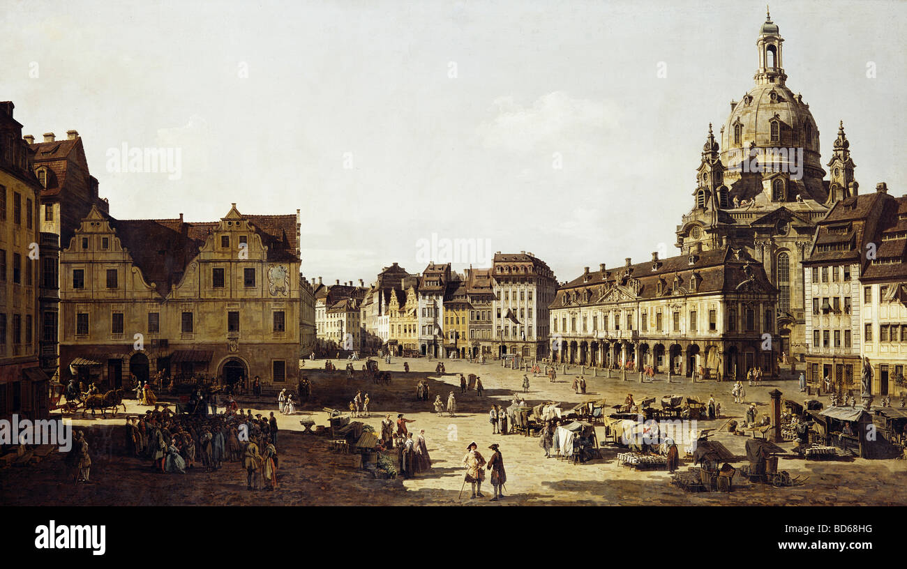 fine arts, Bellotto, Bernardo, called Canaletto (20.5.1722 - 17.11.1780), painting 'Der Neumarkt in Dresden - Stock Image