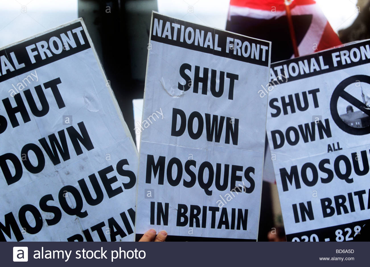 Demonstration by the National Front against Islam London - Stock Image