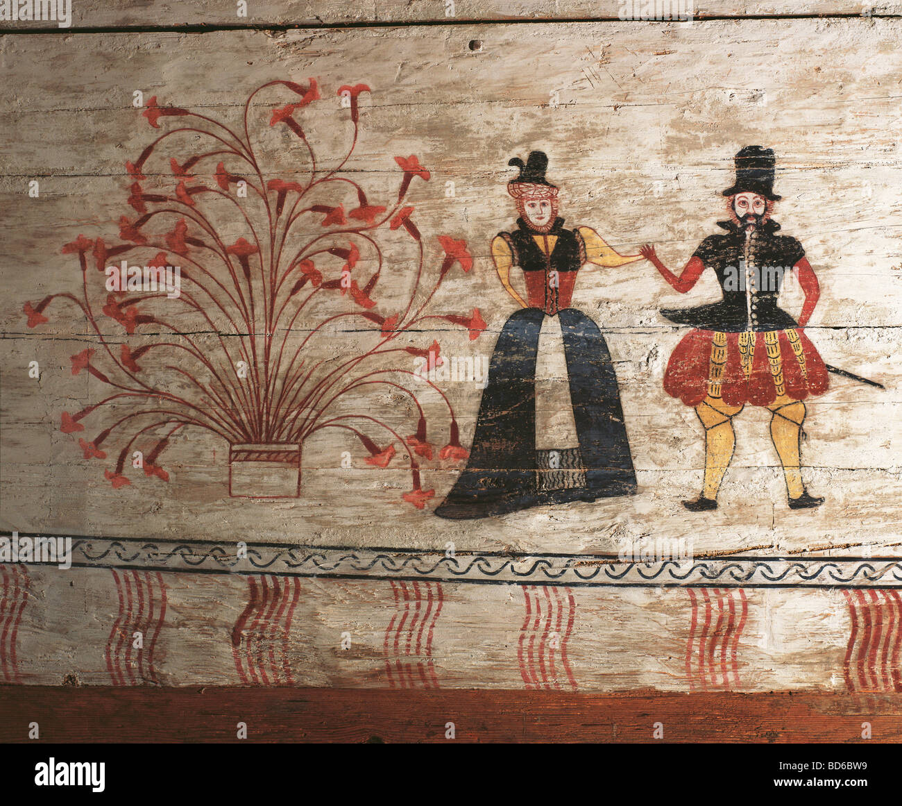 fine arts, folk art, Germany, painting, barn dance, corn box from Moosen, Upper Bavaria, circa 1575, Glentleiten - Stock Image