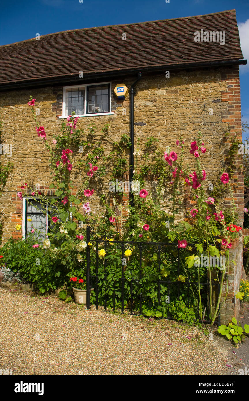 Stone Cottage with A Cottage Garden Wonersh Surrey England - Stock Image