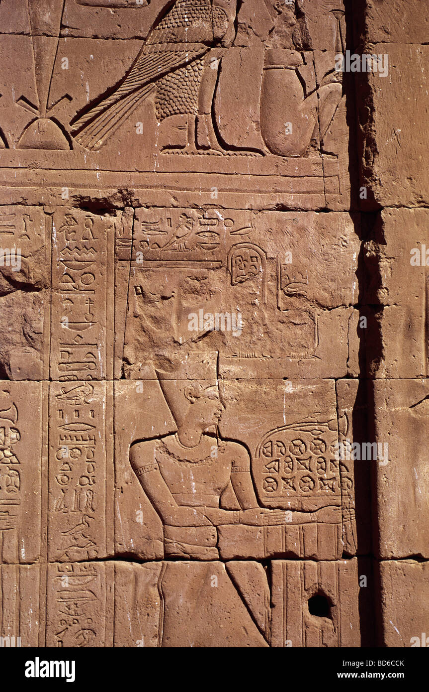 geography / travel, Egypt, Karnak, Temple of Amun-Re,  king sacrificing blossoms, relief, 18th Dynasty (circa 1551 - Stock Image