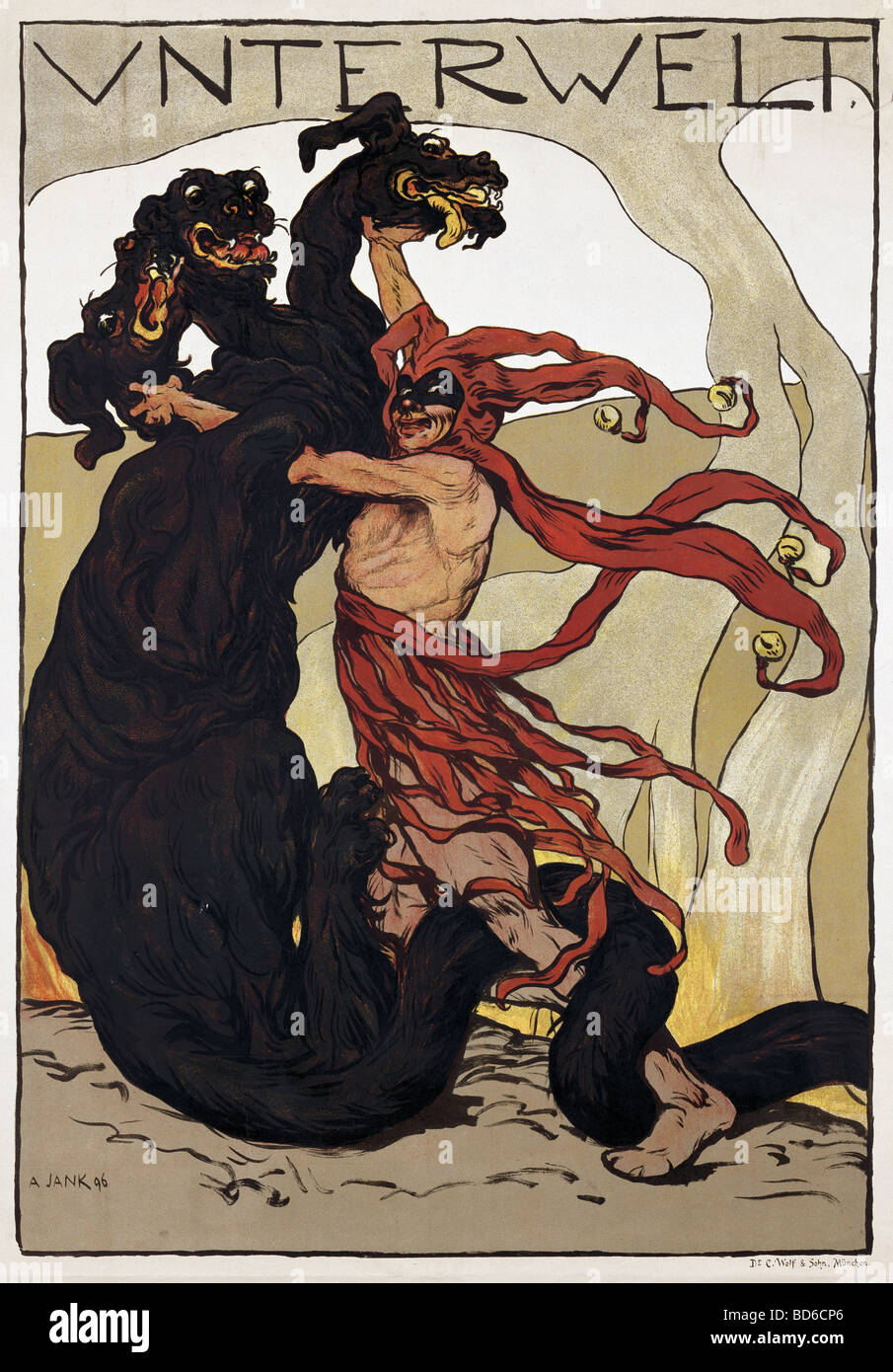 fine arts, Jank, Angelo (30.10.1884 - 9.10.1940), poster 'Unterwelt' (Hades), 1896, printed by C. Wolf and - Stock Image