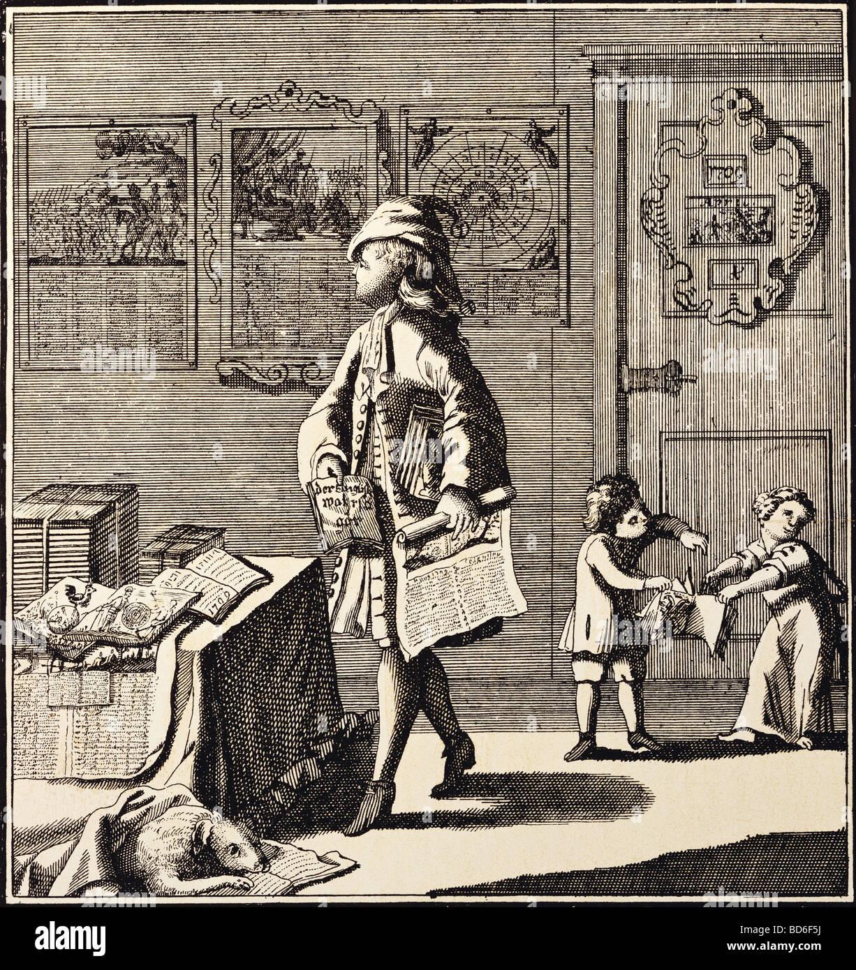 calendar, graphic, 'Der Kalender-Narr' (The calendar fool), caricature, copper engraving, by Christoph Weigel, - Stock Image