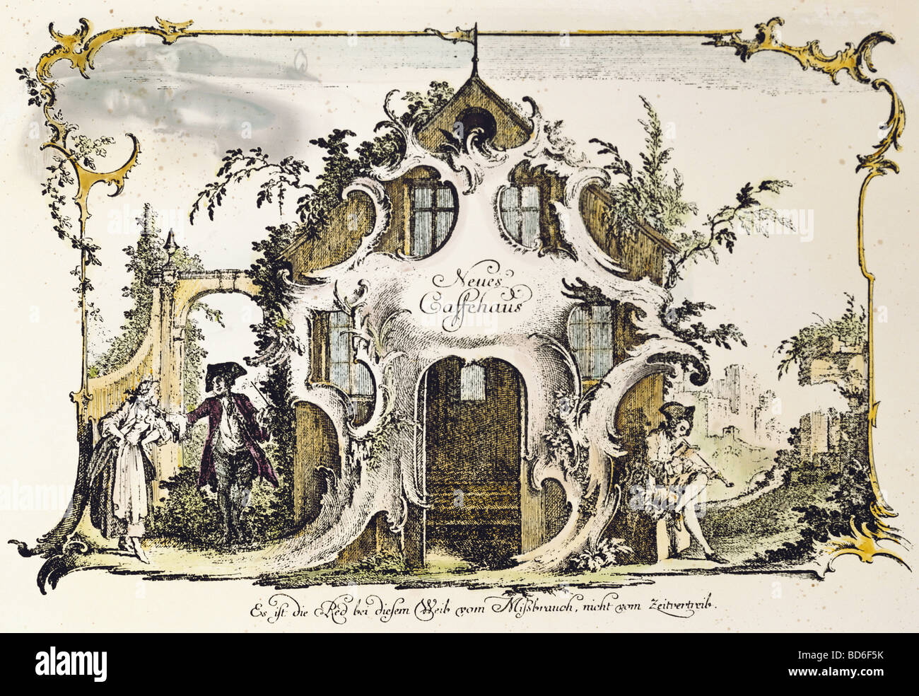 "fine arts, Nilson, Johannes Esaias (1721 - 1788), graphic, ""Neues Cafehaus"", copper engraving, coloured, Augsburg, Stock Photo"