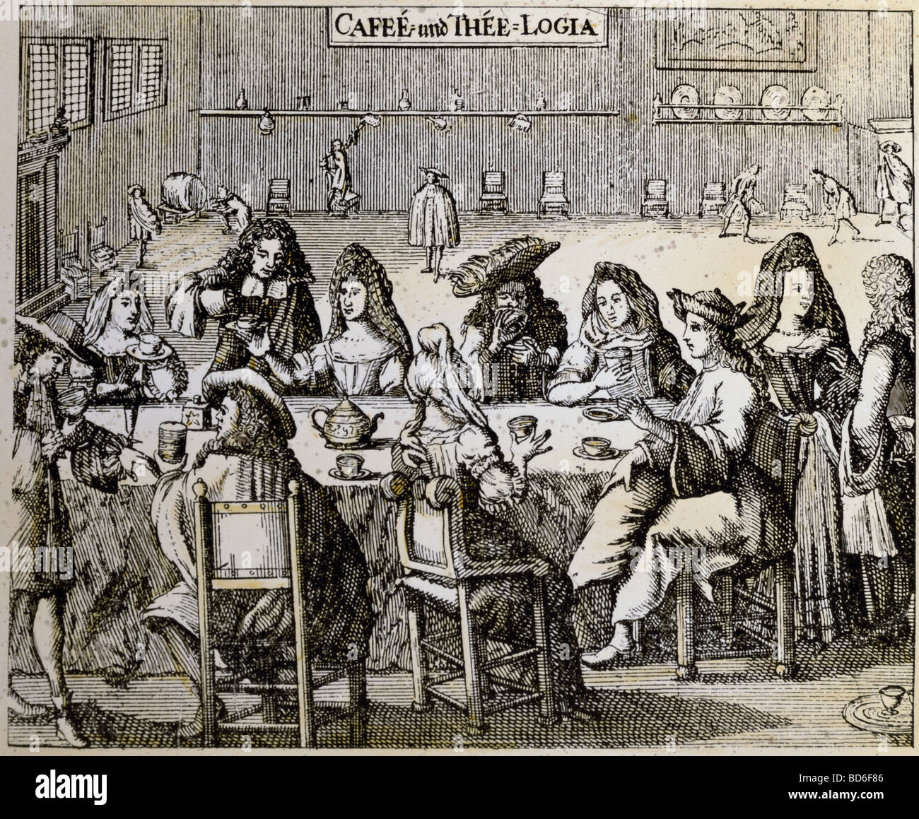 gastronomy, cafe, 'Cafee und Thee-Logia' (Coffee and tea house), copper engraving, Germany, second half - Stock Image