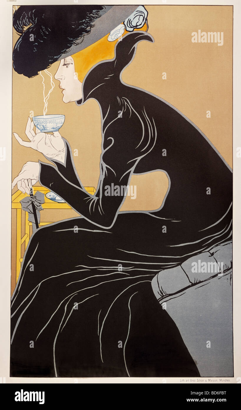 fine arts, Mucha, Alfons Maria, 24.7.1860 - 14.7.1939, graphic, 'Tee trinkende Dame' (tea-drinking lady), - Stock Image