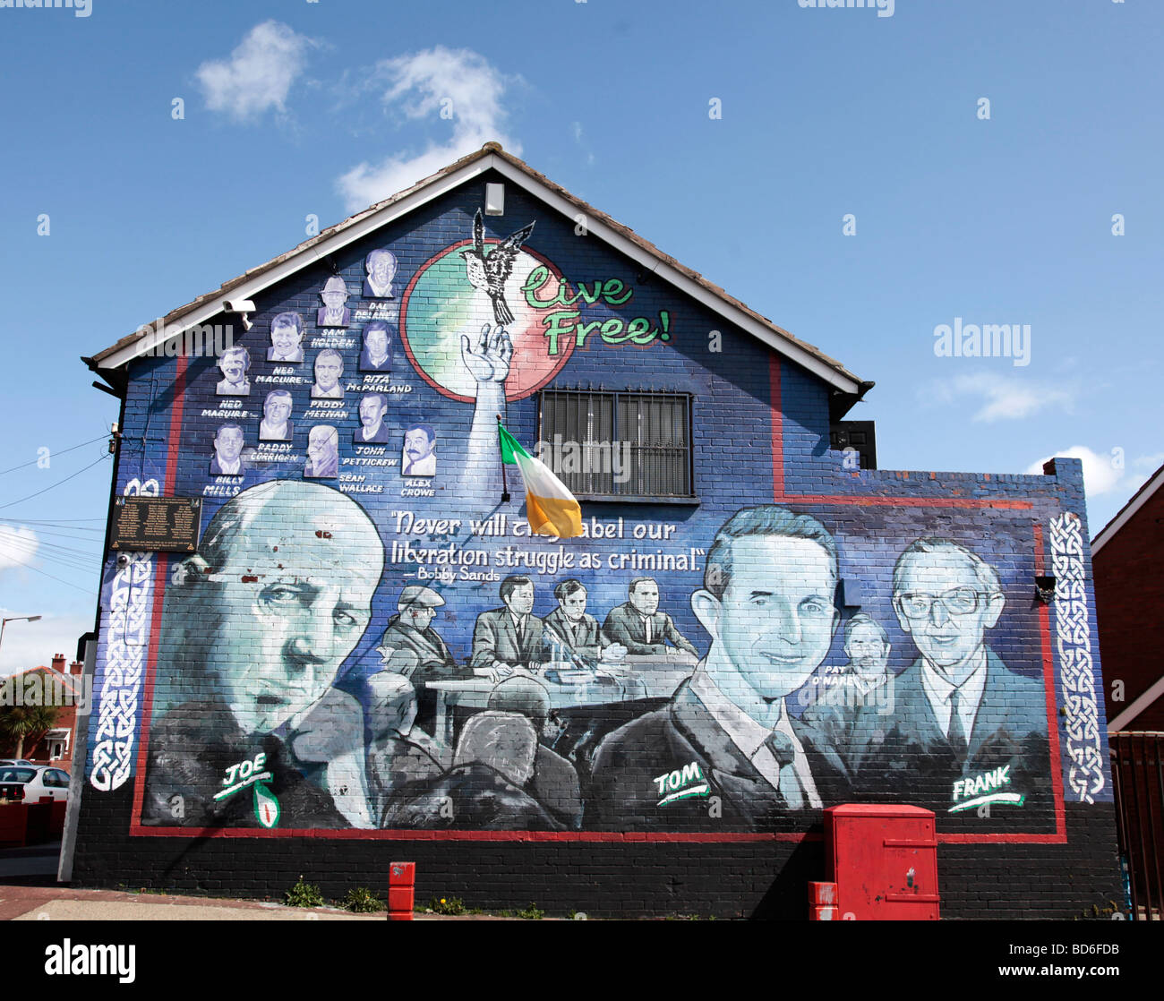 Mural for Joe Cahill and his brothers, painted by Danny Devenney in the Whiterock, Republican/Nationalist area of - Stock Image