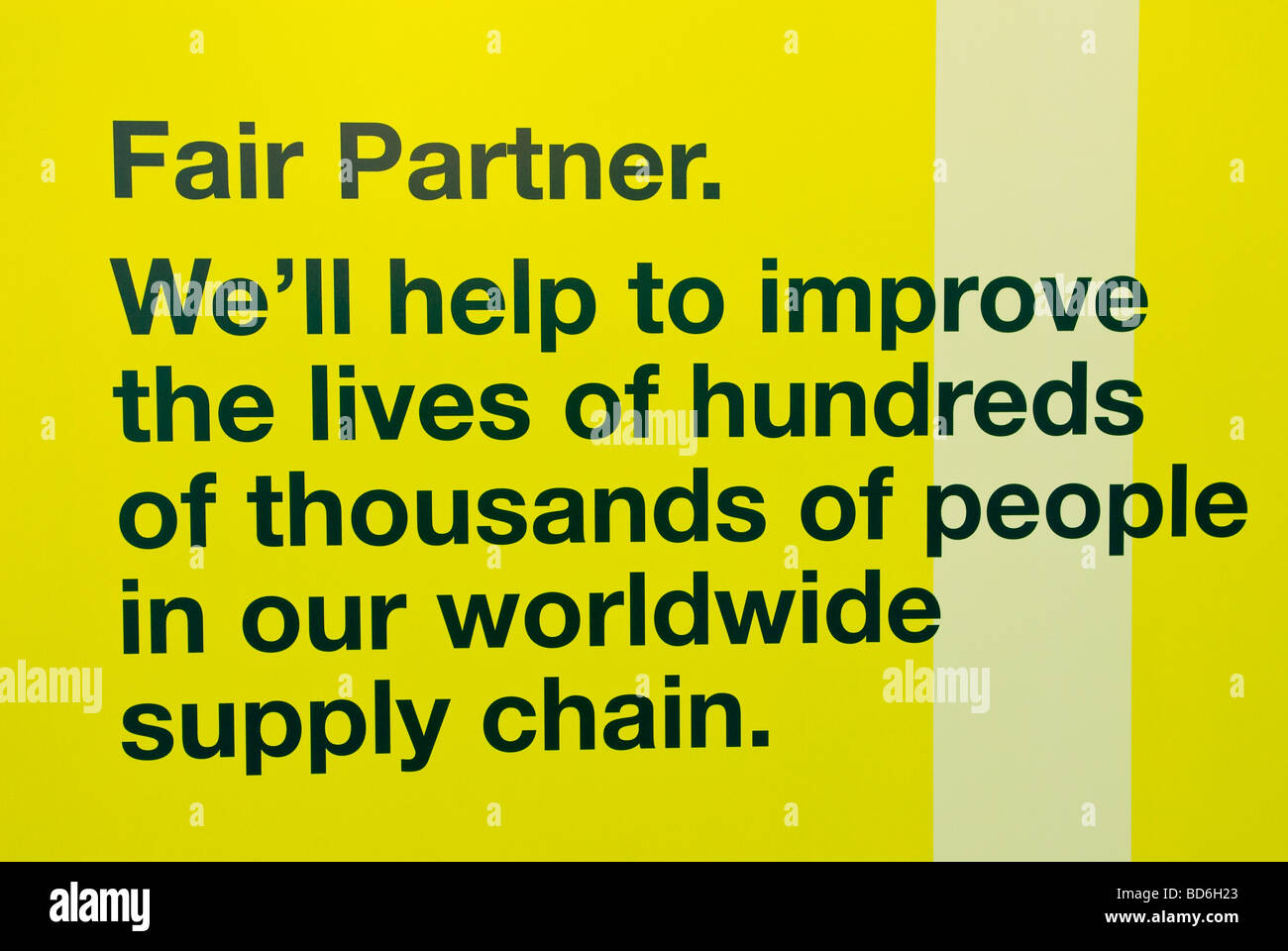 A sign on the window of Marks and Spencer store telling of green issues in their five year ad campaign in Norwich - Stock Image