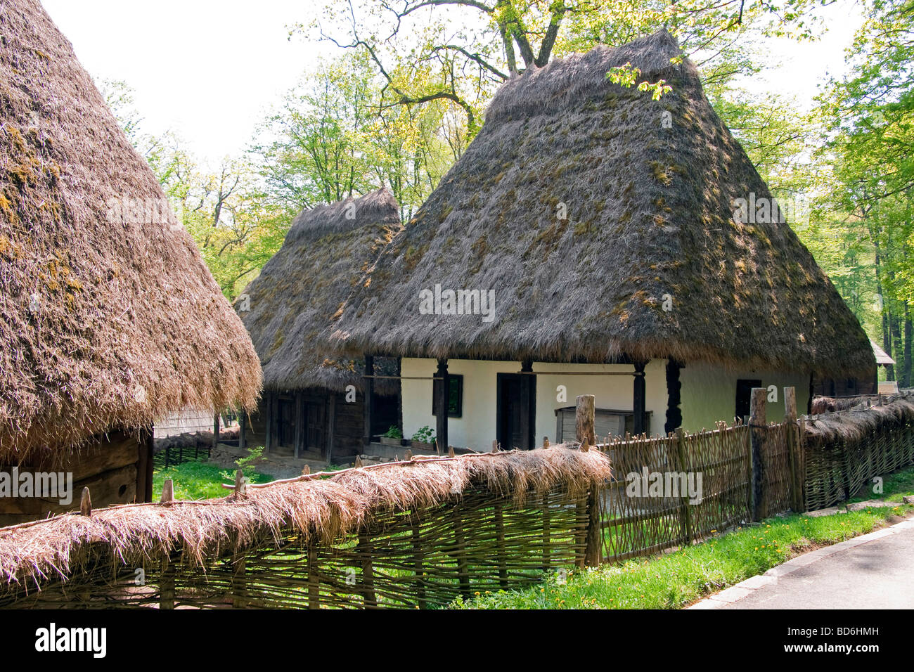 Romania's Museum of Traditional Folk Civilization, peasant homestead with thatch roof dwelling, at Sibiu in - Stock Image