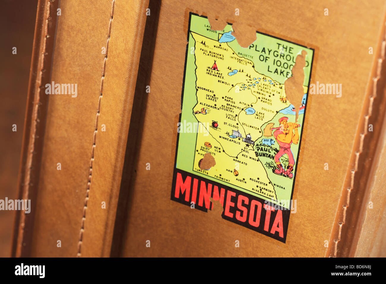 Old suitcase with Minnesota sticker - Stock Image